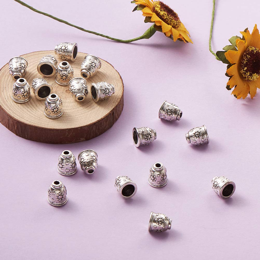 Pandahall 20pcs Tibetan Style Flower Bead Caps Bicone Beads Tassel End Cap Cup Triangle Antique Bronze Jewelry Making 20x13mm Hole 1.5mm