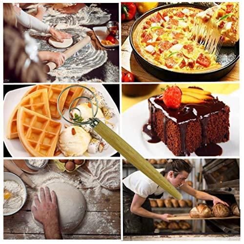Danish Dough Whisk Stainless Steel Hand Mixer KitchenDanish Whisk For DoughHookFlour Wand Bread Dough Mixer Danish Bread Whisk Dutch Dough Whisk Flat Whisks For CookingSourdough Starter Kit