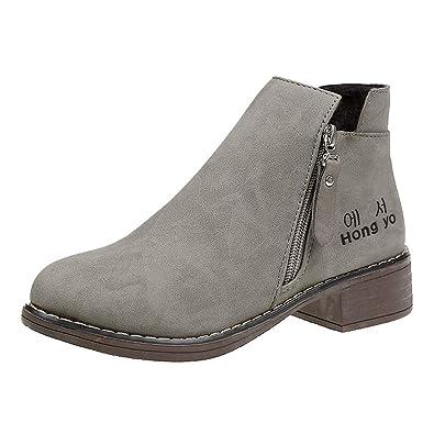 936b1d891550 JIANGfu Women Winter Suede Zipper Short Tube Ankle Boots Booties ...