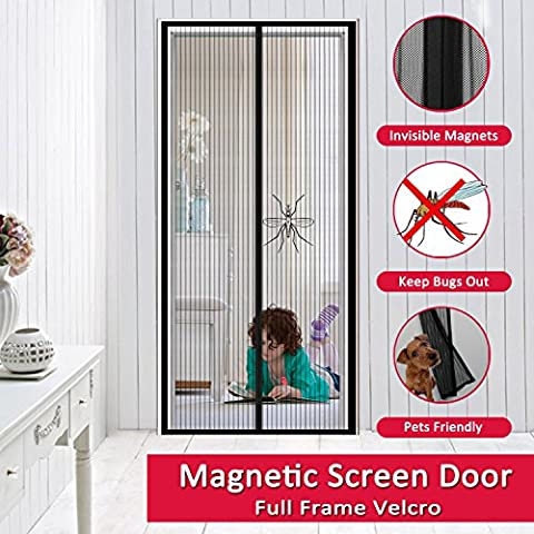 Magnetic Screen Door, Easylife Full Frame with Extreme Tough Velcro Mesh Curtain, Bugs and Mosquitoes Out Cool Breeze In Fit Door Openings Up To 37