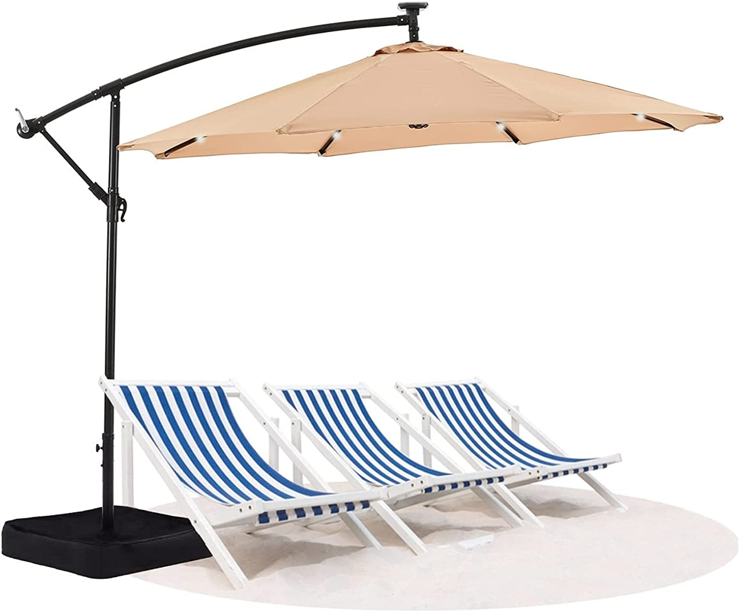 Vicllax 10FT Offset Patio Umbrella with Solar Lights, Cross Base and Weight Bags for Backyard, Lawn and Garden