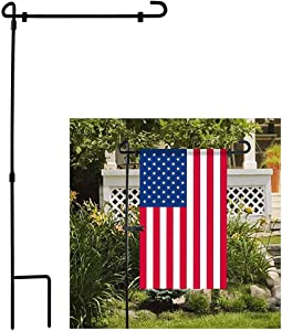 America President Garden Flag Stand Iron Garden Flag Pole, Personalized Flagpoles for Party, Flying Away in High Winds, Perfect Decor for Outdoor Yard Porch Patio Lawn (2Pcs, not include flag)
