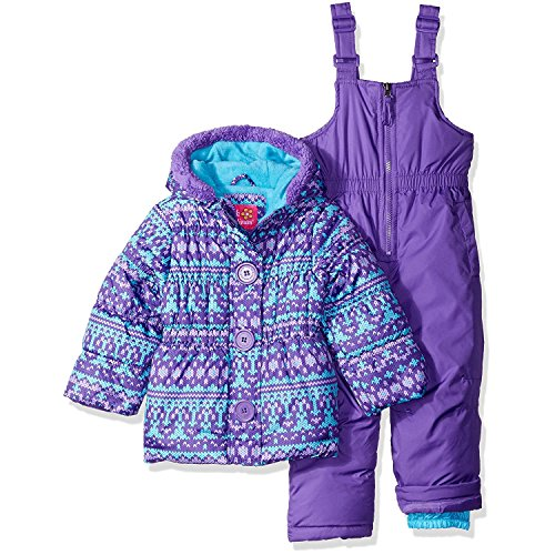 Pink Platinum Little Girls' Fair Isle Print Snowsuit, Purple, 4