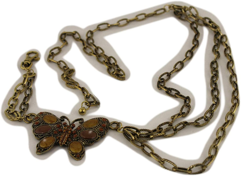 TFJ Women Fashion Gold Metal Chain Link Belt Hip High Waist Brown Beads S M L