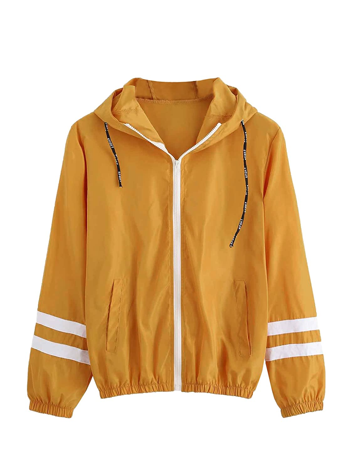 Mustard SweatyRocks Women's colorful Splash Printing Zip Up Windbreaker Jacket with Hood