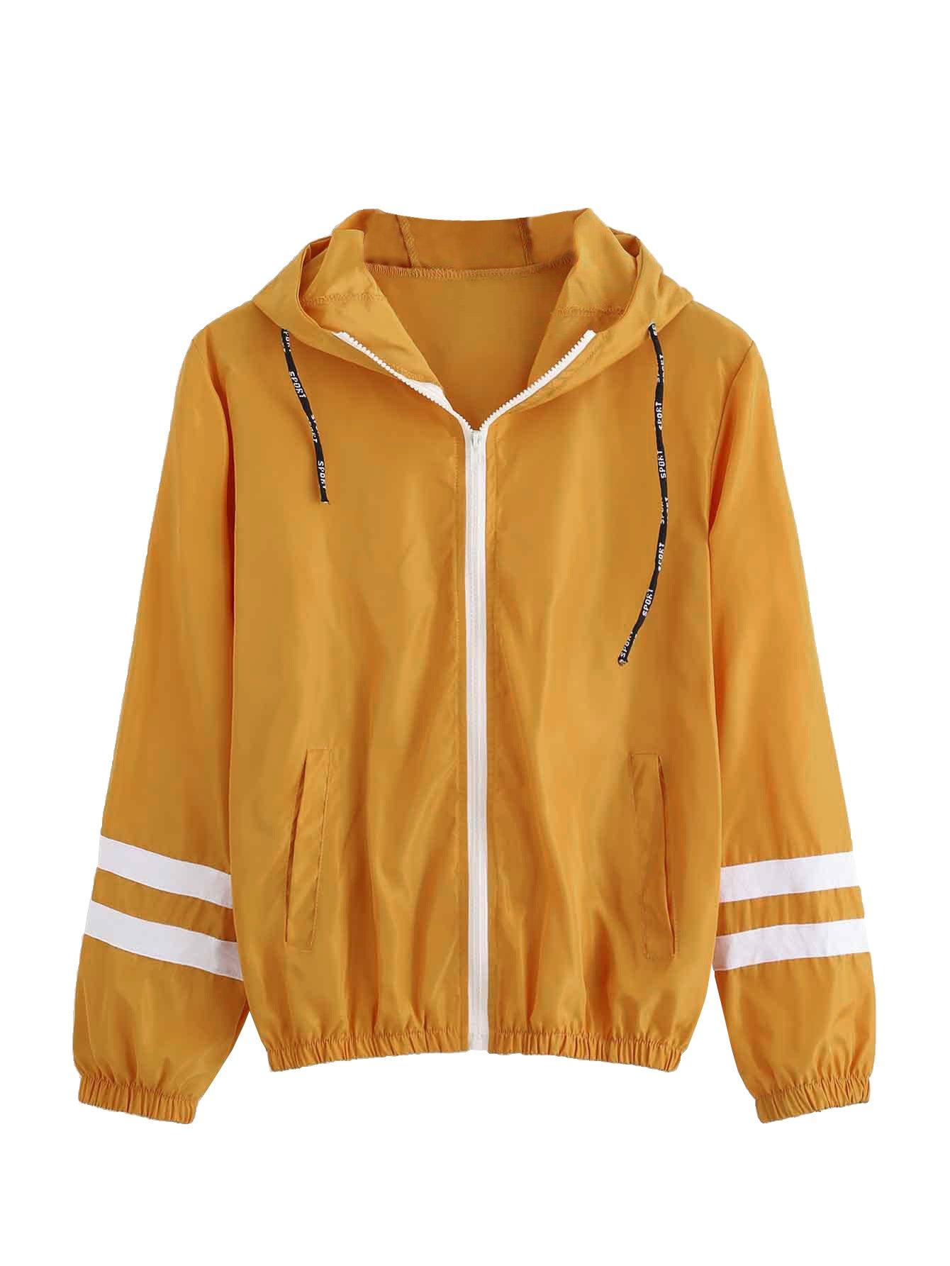 SweatyRocks Women's Colorful Splash Printing Zip up Windbreaker Jacket with Hood (X-Large, Mustard)