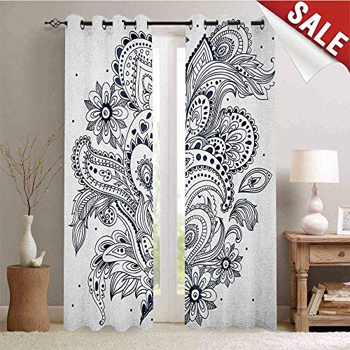 Henna Blackout Draperies for Bedroom Doodle Style Floral Arrangement with Ornament Design Abstract Leaves Image Print Thermal Insulating Blackout Curtain W84 x L108 Inch Dark Blue White