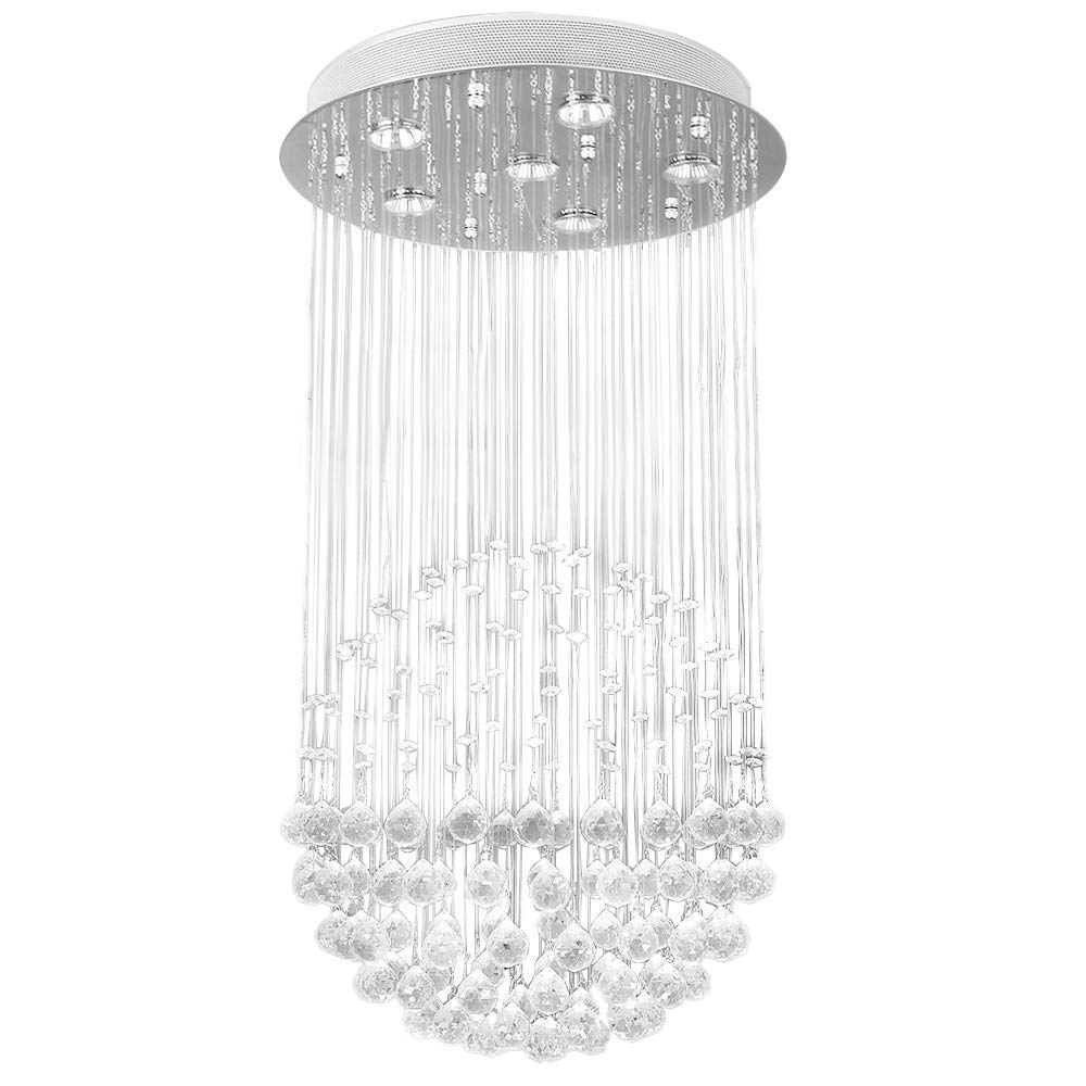 Etelux Chandeliers Modern Crystal Ceiling Lights Fixture Pendant Lamp with 4 Lights for Living Room Bedroom Hallway Dining Room Study Room Lighting (Bulbs Not Included)