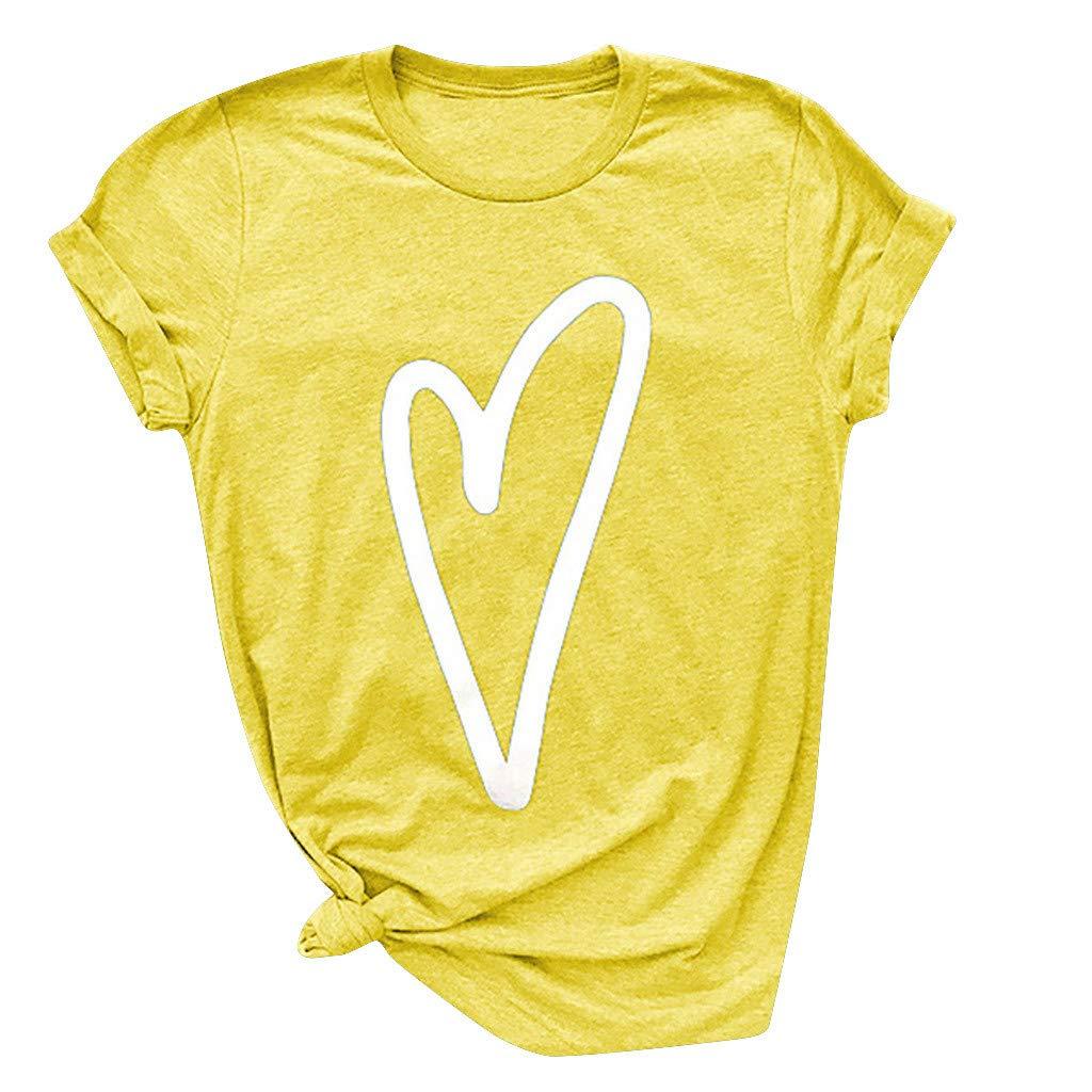 Eaktool Shirts for Women,Colors Fashion Women Heart Print Short Sleeve Shirt Lady Summer Casual Tee Tops