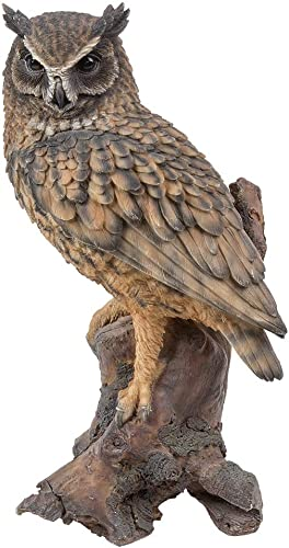 Amazing Animal Collection Bubo bubo Eurasian Eagle Owl stand on Wood 14.5 inches Figurine Statue