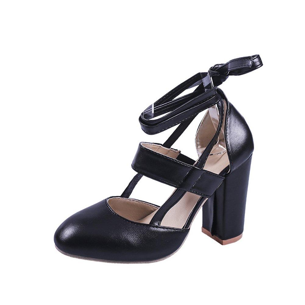 Zapatos de Mujer 2018 Nuevo Verano de Tacón Grueso con Zapatos de Gran Tamaño Sandalias de PU Artificiales Mujeres de Gran Tamaño Sandalias de Tacón Grueso (Color : Negro, Tamaño : 38) 38 Negro