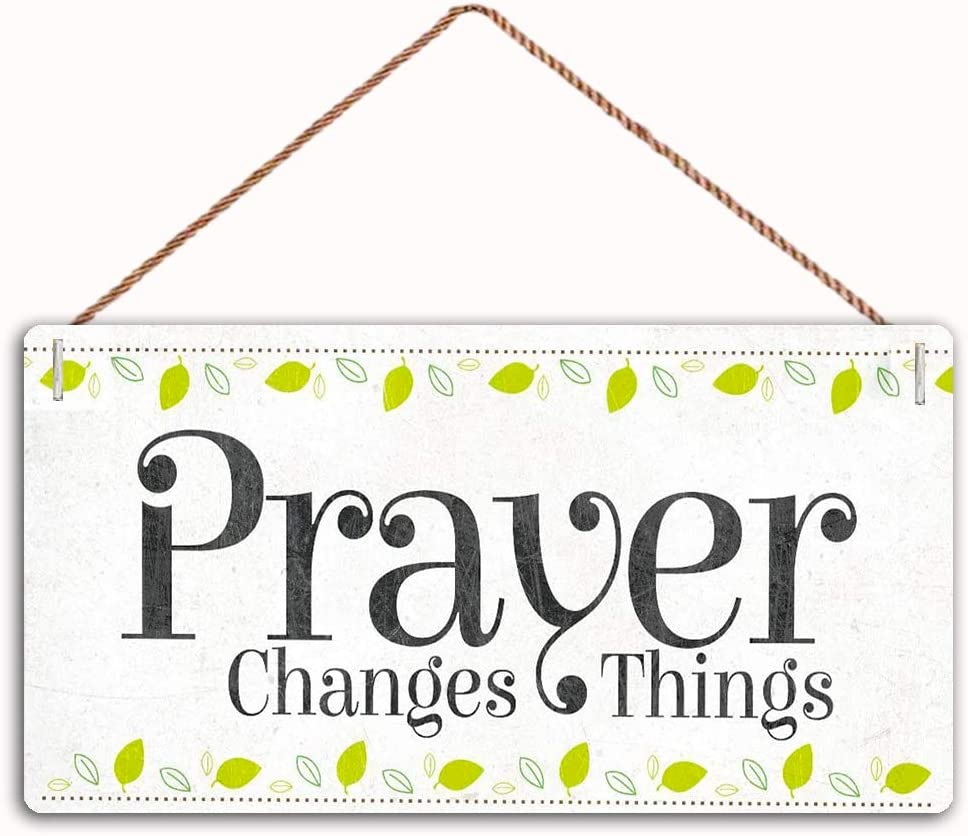 WEIMEILD Prayer Changes Things Sign Home Decor Wood Sign Plaque 12