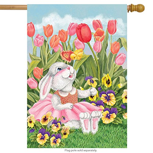 Briarwood Lane Bunny and Tulips Easter House Flag Spring Flo