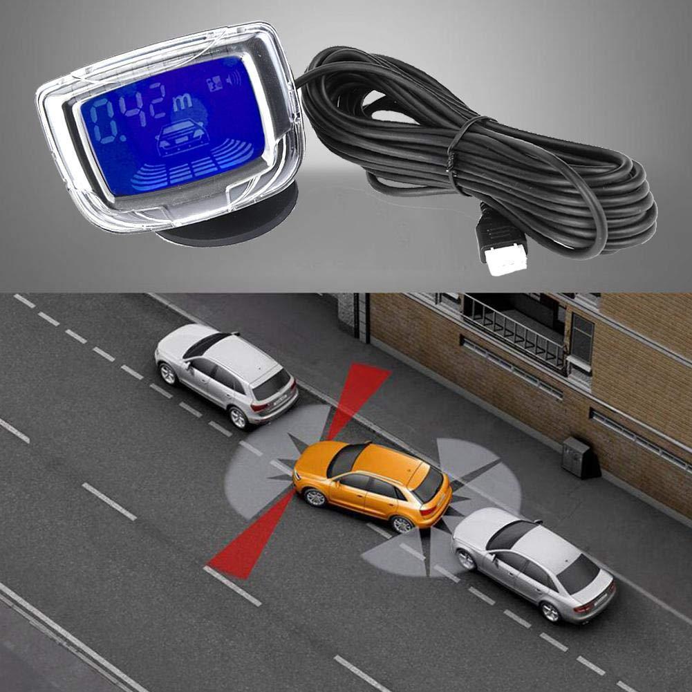 Silver 2 pulgadas Pantalla LCD Sistema de detecci/ón de respaldo del timbre de asistencia de estacionamiento de autom/óviles con 4 sensores de radar Sensor de estacionamiento de autom/óviles LCD