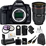Canon EOS 5D Mark III 22.3 MP Full Frame CMOS with 1080p Full-HD Video Mode Digital SLR Camera (Body) with Canon EF 24-70mm f/2.8L II USM Lens + 64GB Bundle 16 PC Accessory Kit. Includes 3 Piece Filter Kit (UV-CPL-FLD) + 64GB Memory Card + More