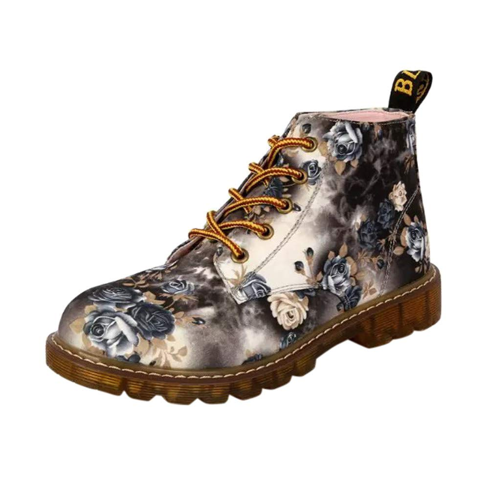 Ninasill Combat Boots Women Ladies Soft Flat Ankle Floral Print Christmas Shoes Lace-Up Boots Ninasill_Boot ZC-1004