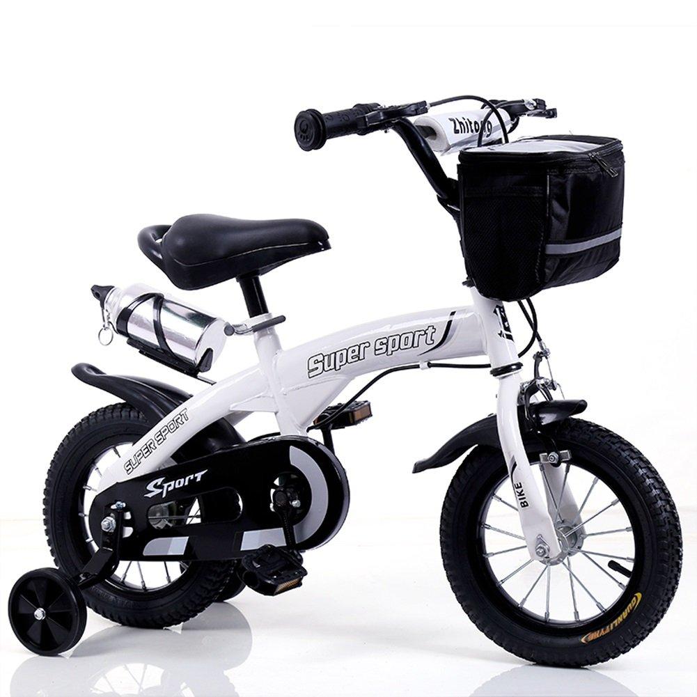 Mariny 子供の自転車2-3-5-6-9歳の男性の女性の子供の赤ちゃんのキャリッジ12/14/16/18インチのトレーニングホイールとケトル付きのベビーバイク (色 : 白, サイズ さいず : 14