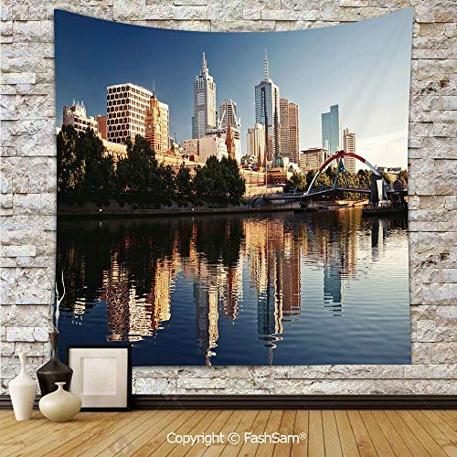 FashSam Tapestry Wall Hanging Idyllic View of Yarra River Melbourne Australia Architecture Tourism Tapestries Dorm Living Room -