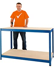 Certeo Höhenverstellbare Werkbank | HxBxT - 90 x 140 x 60 cm | Traglast bis zu 300 Kg pro Fachboden | Gesamttraglast 1200 kg |Unkomplizierte Steckmontage | Werktisch Arbeitstisch Mehrzwecktisch
