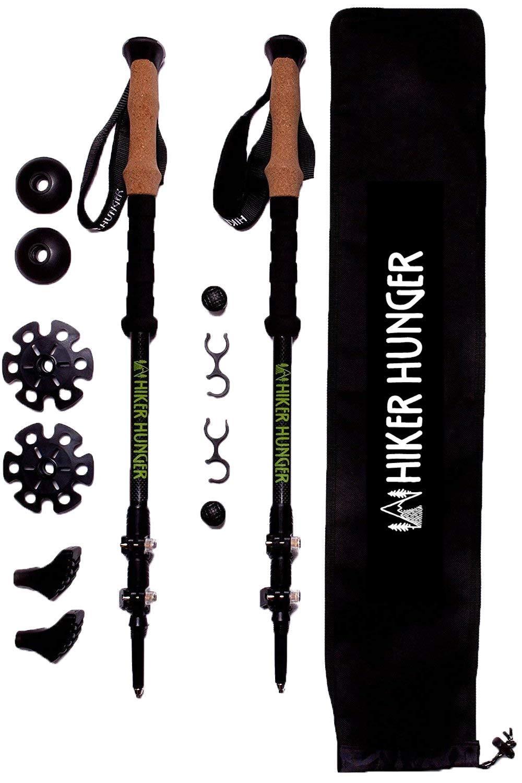 Hiker Hunger 100% Carbon Fiber Trekking Poles – Ultralight & Collapsible with Quick Flip-Lock, Cork Grips, Tungsten Tips