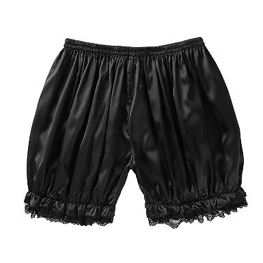a8c708e21f ACSUSS Men s Silk Satin Frilly Sissy Lingerie Underwear Loose Boxer Shorts  Black Medium