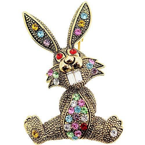 (Fantasyard Golden Easter Bunny Crystal Brooch Pin)