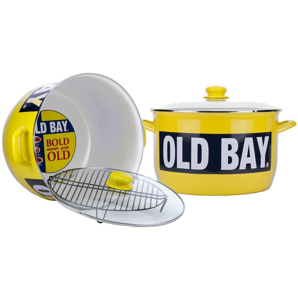 Enamelware - Old Bay Pattern - 18 quart Stock Pot with Rack
