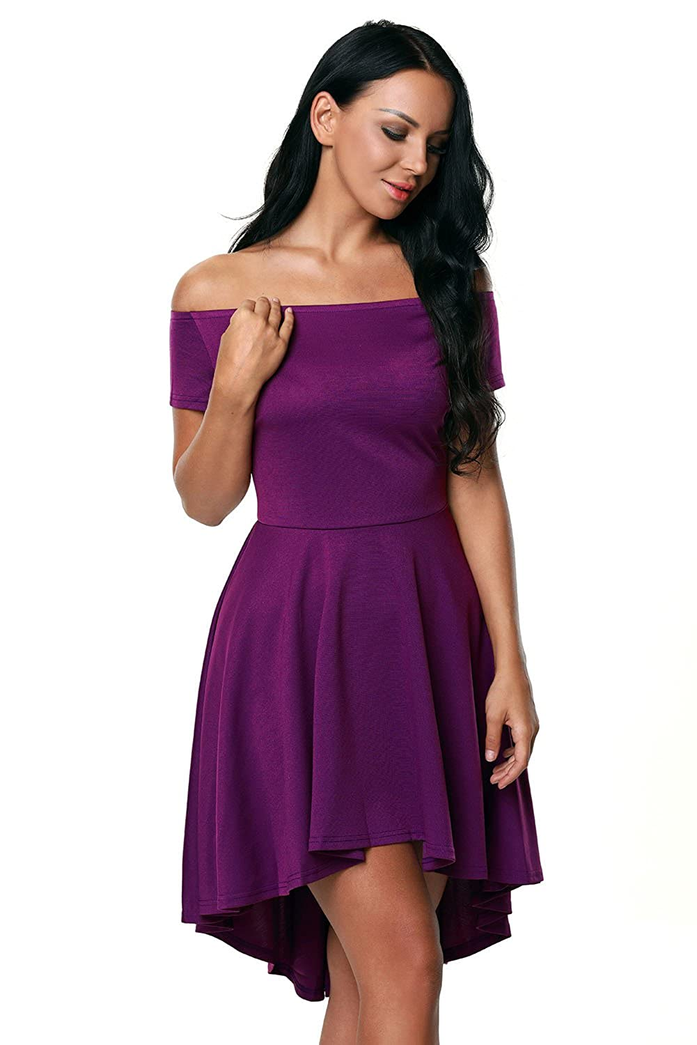 06d387cb5224 Purple Women Off Shoulder Sleeve High Low Skater Dress at Amazon Women s  Clothing store