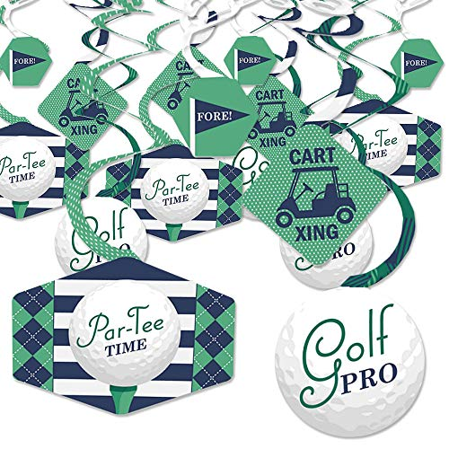 Par-Tee Time - Golf - Birthday or Retirement Party Hanging Decor - Party Decoration Swirls - Set of 40 -