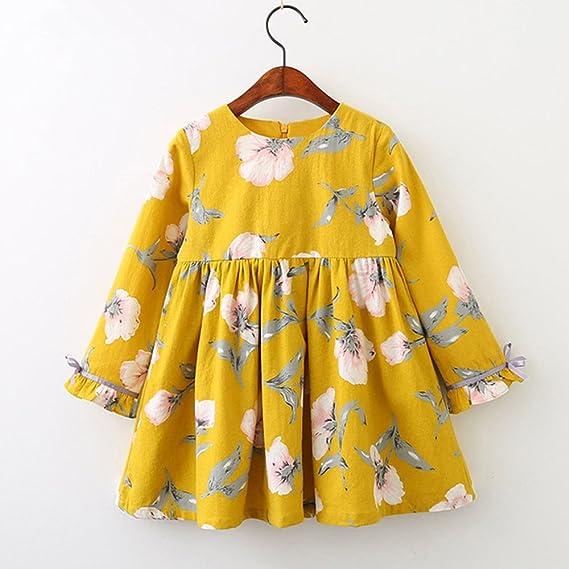 ... niña niña para niños pequeños Vestidos de Fiesta de Bowknot Floral de Manga Larga Primavera otoño Vestido para Bebés: Amazon.es: Ropa y accesorios