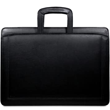 9e9891498d80 Jack Georges Belting Triple Gusset Top Zip Leather Briefcase in Black