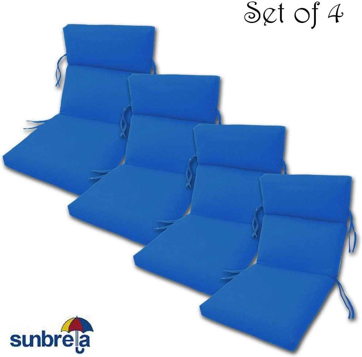 Comfort Classics Inc. Set of 4 Outdoor CHANNELED Chair Cushions 22W x 44L x 3H Hinge at 24 in Sunbrella Fabric Pacific Blue