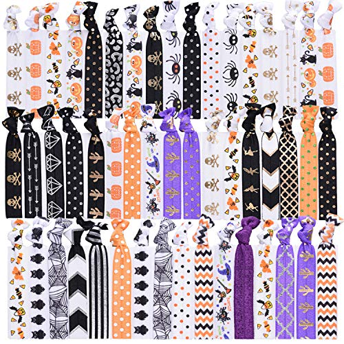 SIQUK 50 Pieces Halloween Hair Ties Elastic Bands