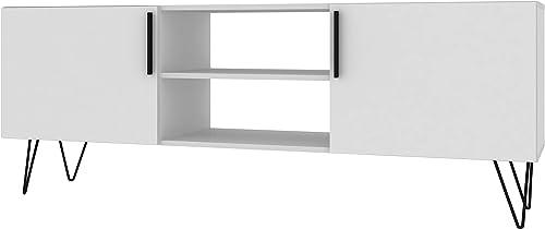 Manhattan Comfort Nolita Mid Century Modern 6 Shelf Television Stand, White
