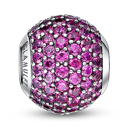 Glamulet Sports - July Birthstone - Bright Magenta Paved Crystal Charm -- 925 Sterling Silver