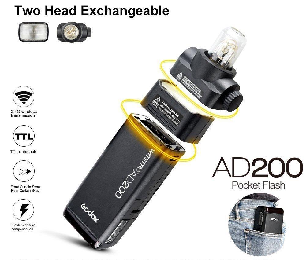 Godox AD200 Flash Strobe 2.4G TTLPocket Flash Light 200Ws TTLHSS 1 ...