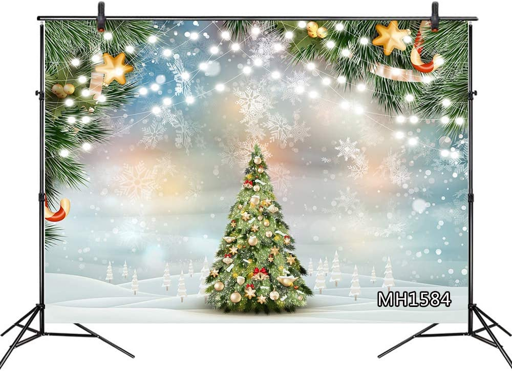 LB Christmas Tree Backdrops for Photography 10x8ft Winter Snowflake Green Pine Branch Candy Cane Shiny String Lights Photo Background for Pictures,Customized Photoshoot Props