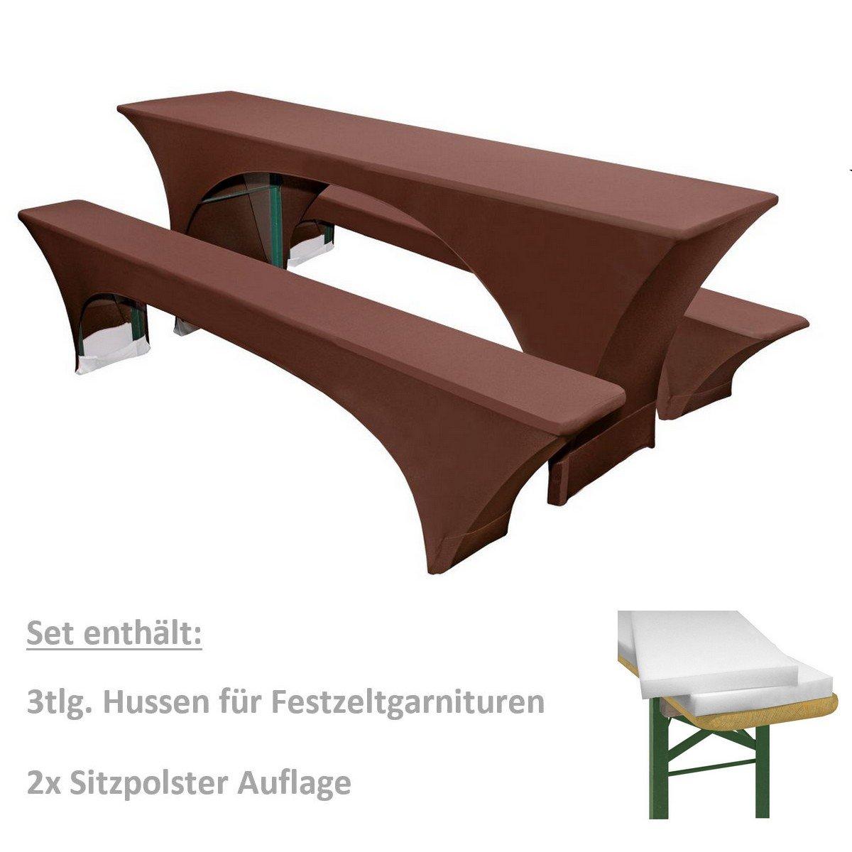 Amazon.de: gepolsterte Stretch Festzeltgarnitur Set 5tlg ...