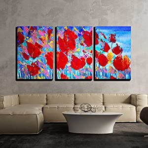 "wall26 - 3 Piece Canvas Wall Art - Abstract Red Flowers Painting on Canvas with Acrylic Colours.I Paint This Picture in 2010. - Modern Home Decor Stretched and Framed Ready to Hang - 16""x24""x3 Panels"