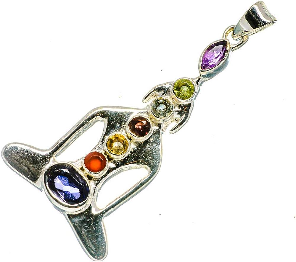 Bohemian - Handmade Jewelry 925 Sterling Silver Vintage PD726861 Ana Silver Co Multi-Stone Chakra Chakra Pendant 1 5//8