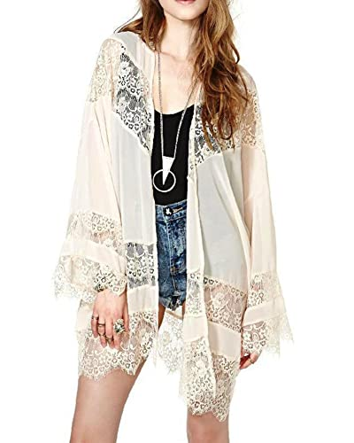 Mujer Color Sólido Del Cordón Del Ganchillo Cardigan Trompeta Mangas Bikini Cover Up