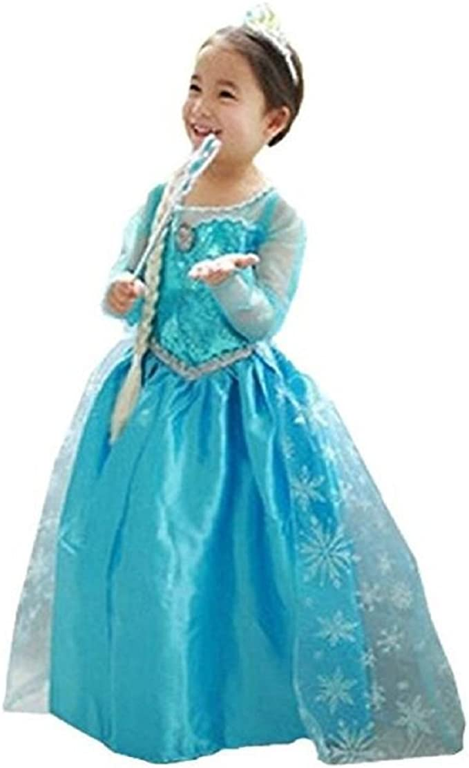 M Frozen Elsa Princess ANNA Dress Gown Girls Costume w// Tiara Wand Size 5//6