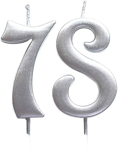 Number 96 Cake Topper Candles Party Decoration for Women or Men MAGJUCHE Silver 96th Birthday Numeral Candle