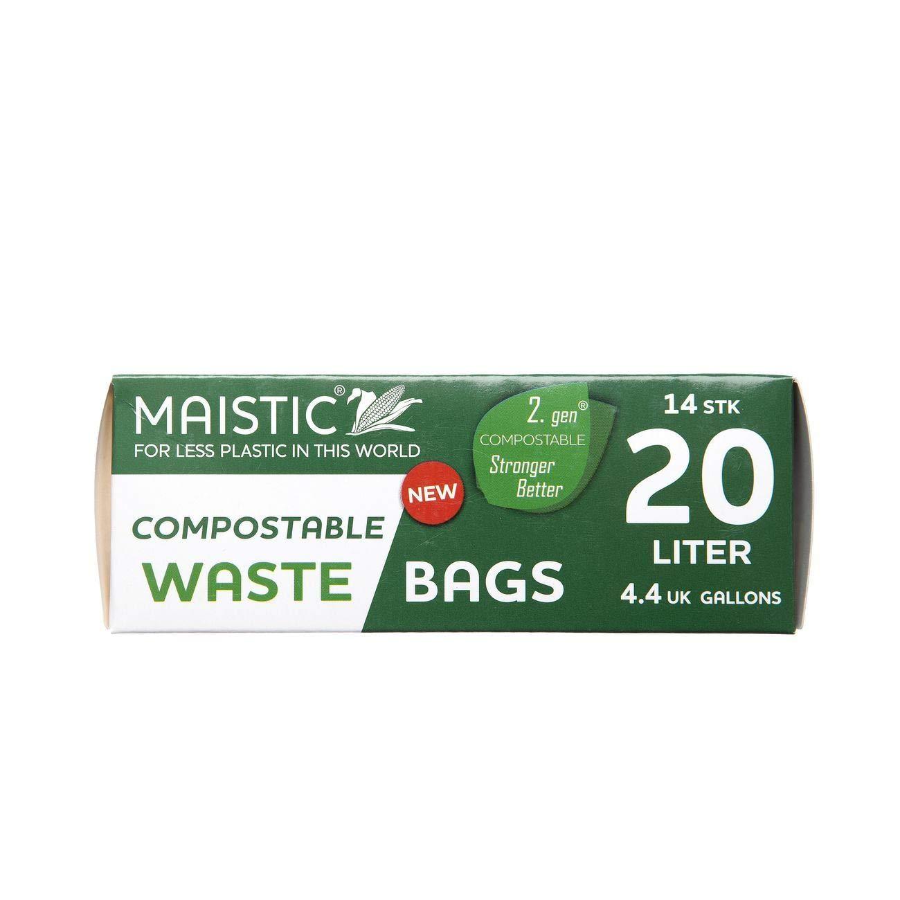 Maistic - Bolsas de basura compostables (20 L, 14 por ...