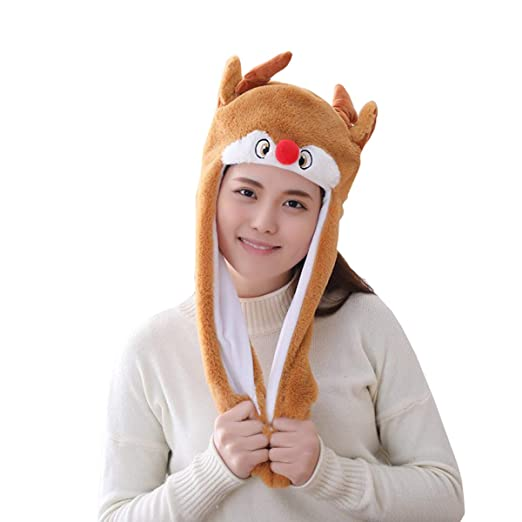 Amazon.com  yqtyqs Deer Hat Cap Animal with Airbag Jumping Ear Movable  Plush TIK Tok Gift DOUYIN  Clothing 6e61e59a7136