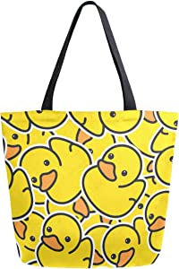 ZzWwR Chic Cute Rubber Yellow Ducky Pattern Extra Large Canvas Market Beach Travel Reusable Grocery Shopping Tote Bag Portable Storage HandBags