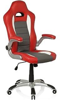 hjh OFFICE 621705 silla de gaming RACER SPORT piel sintética rojo / blanco, apoyabrazos plegables,…