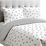 Dance 3 Piece Reversible Duvet Cover Set with Ballet Slippers in White and Black KING