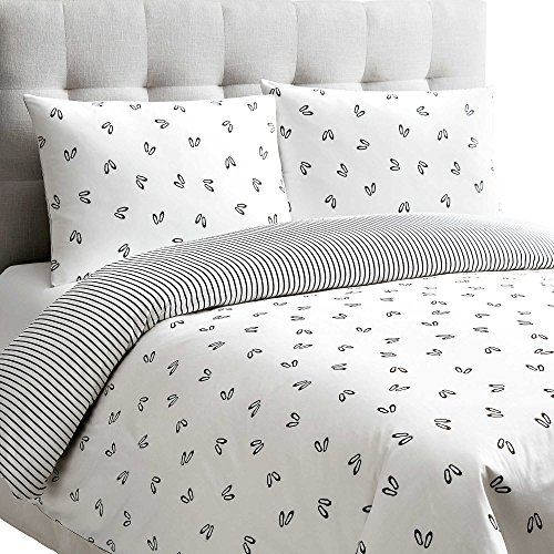 Dance 3 Piece Reversible Duvet Cover Set with Ballet Slippers in White and Black KING by BBBMex