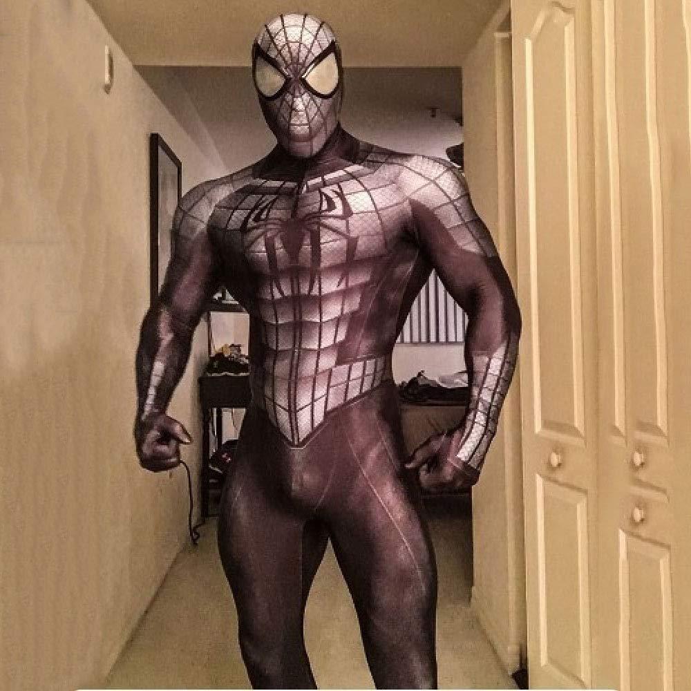 SEJNGF SchwarzGrau Spider-Man Siamesische Strumpfhose Bühnenkostüm Halloween Cosplay Set (Kopfbedeckungen Können Getrennt Werden),Black-S Black Large